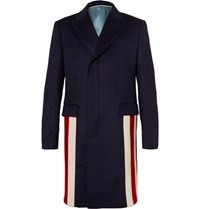 Gucci Stripe Trimmed Cashmere And Wool Blend Coat Navy