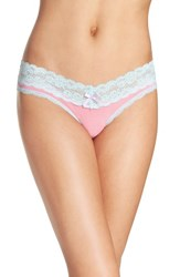 Honeydew Intimates Women's Lace Trim Low Rise Thong Rosewood