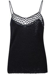 Raquel Allegra Crochet Knitted Top Black