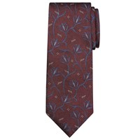 John Lewis And Co. Abstract Floral Silk Jaspe Tie Burgundy