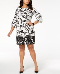 Alfani Plus Size Printed Scuba Fit And Flare Dress Created For Macy's Black Bot Leaves