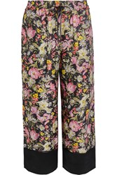 3.1 Phillip Lim Meadow Flower Cropped Printed Silk Twill Wide Leg Pants Black