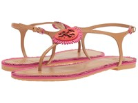Tory Burch Miller Fringe Flat Sandal Dusty Cypress Hibiscus Women's Sandals Red