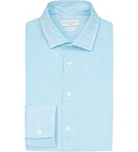 Richard James Contemporary Fit Linen Shirt Aqua