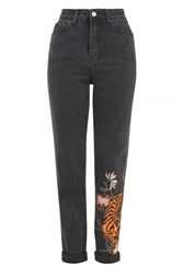 Topshop Tall Tiger Applique Mom Jeans Washed Black