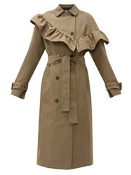 Msgm Houndstooth Ruffle Trim Wool Blend Trench Coat Beige
