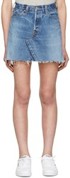 Re Done Blue High Rise Denim Miniskirt