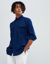Selected Homme Brushed Cotton Overshirt In Regular Fit Navy