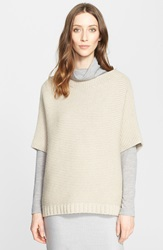 Fabiana Filippi Short Sleeve Cape Sweater With Removable Genuine Shearling Collar