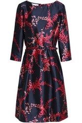 Oscar De La Renta Belted Floral Print Silk And Cotton Blend Twill Dress Indigo