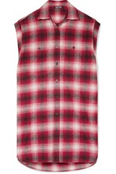 Adaptation Oversized Checked Cotton Flannel Shirt Red