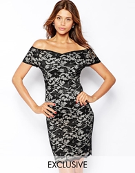 John Zack Bardot Bodycon Dress In Lace Blacknude