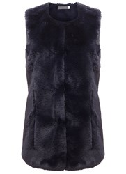 Mint Velvet Navy Faux Fur Collarless Gilet Blue