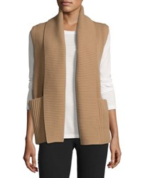 Lafayette 148 New York Shawl Collar Rib Knit Vest Camel