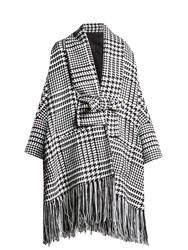 Balmain Oversized Hound's Tooth Check Coat Black White