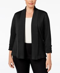 Jm Collection Plus Size Ruched Sleeve Cardigan Only At Macy's Deep Black