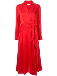 Equipment Tie Waist Dress Red