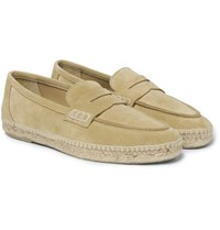 Loewe Suede Espadrille Penny Loafers Gold