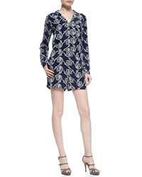 Derek Lam 10 Crosby Printed Long Sleeve Silk Romper