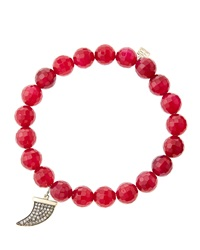 Sydney Evan 8Mm Faceted Red Agate Beaded Bracelet With 14K Gold With Diamond Medium Horn Charm Made To Order