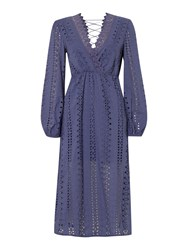 Bardot Long Sleeved Embroidered Maxi Lace Back Dress Royal Blue