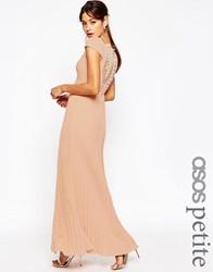 Asos Petite Wedding Lace Back Pleated Maxi Dress Pink