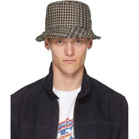 Ami Alexandre Mattiussi Beige And Black Houndstooth Bob Hat