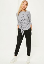 Missguided Grey Ruched Front Sweatshirt Lilac