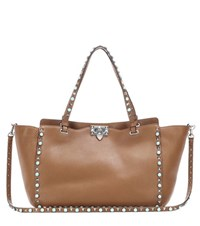 Valentino Rockstud Rolling Leather Tote Brown