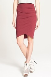 Leith Ruched Body Con Skirt Juniors Red