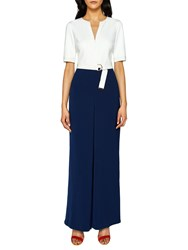 Ted Baker Zip Front Wide Leg Jumpsuit Navy