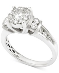 Macy's Diamond Round Cluster Engagement Ring 1 Ct. T.W. In 14K White Gold