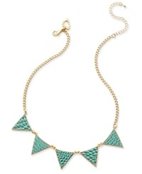 Thalia Sodi Gold Tone Turquoise Color Textured Triangle Necklace Only At Macy's