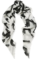 Proenza Schouler Printed Modal And Silk Blend Scarf White