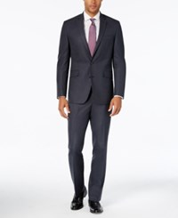 Kenneth Cole Reaction Men's Slim Fit New Blue Pindot Suit With Finished Hem