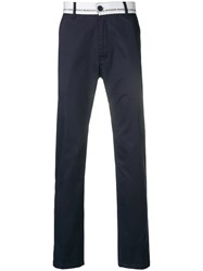 Frankie Morello Branded Waistband Straight Trousers Blue