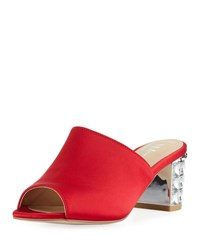 Neiman Marcus Carley Satin Slide Mule Red Satin
