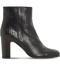 Dune Ozzy Textured Ankle Boot Black Leather