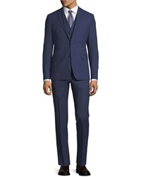 1 Like No Other Slim Fit Wool Three Peice Suit Blue