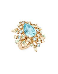 Oscar De La Renta Goldtone Faceted Crystal Starburst Cocktail Ring Green