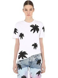 Philipp Plein Embroidered Cotton Jersey T Shirt White