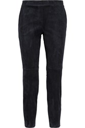 Theory Cropped Stretch Suede Leggings