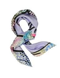 Jimmy Choo Purple Stiletto Printed Twill Silk Square Scarf