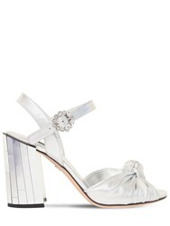 Dolce And Gabbana 100Mm Keira Leather Mirror Sandals Silver