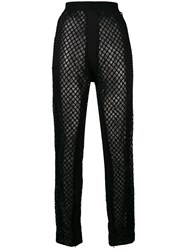 Di Liborio Net Embellished Loose Trousers Black