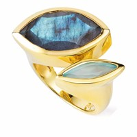 Neola Celestine Gold Ring Labradorite And Chalcedony