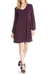 Karen Kane Harper Blouson Sleeve Shift Dress Eggplant