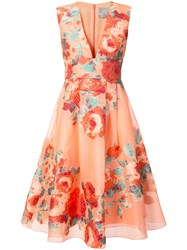 Lela Rose Floral Cocktail Dress Women Silk Polyamide Polyester 4 Yellow Orange