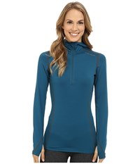 Hot Chillys Micro Elite Chamois 8K Hooded Zip Lagoon Women's T Shirt Blue