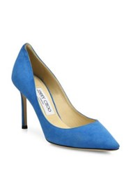 Jimmy Choo Suede Point Toe Pumps Red Robot Blue Black Brown